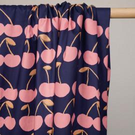 Tissu coton bleu nuit imprimé cerise rose et orange - pretty mercerie - mercerie en ligne