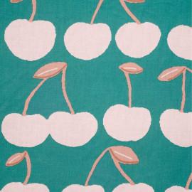 Tissu coton vert bayou imprimé cerise rose pastel et corail - pretty mercerie - mercerie en ligne
