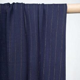Tissu viscose gaze bleu estate à rayures dorées - pretty mercerie - mercerie en ligne