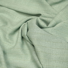 Tissu coton gaze vert milky à rayures dorées X 10 CM