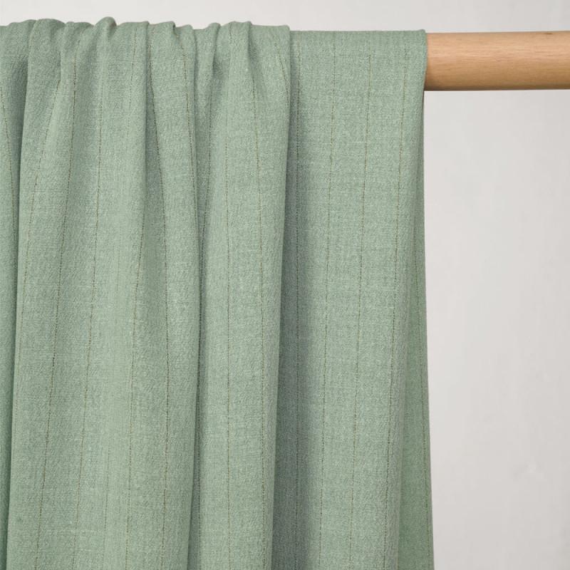 Tissu coton gaze vert milky à rayures dorées - pretty mercerie - mercerie en ligne