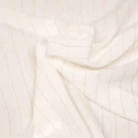 Tissu viscose gaze blanc cassé à rayures dorées - pretty mercerie - mercerie en ligne
