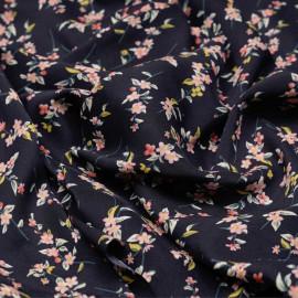 Tissu viscose bleu nuit à motif branches fleuries - pretty mercerie - mercerie en ligne