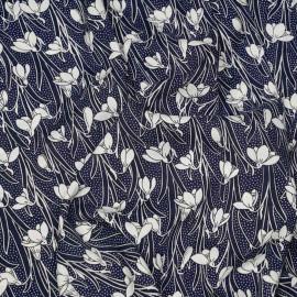 Tissu viscose bleu éclipse à motif jonquilles blanches X 10 CM