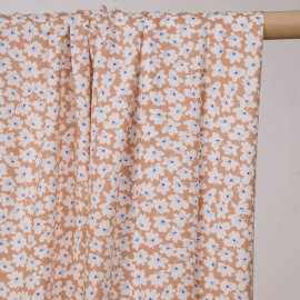 Tissu viscose toast à motif fleurs abstraites - pretty mercerie - mercerie en ligne