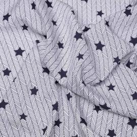 Tissu viscose bleu éclipse à motif étoile et chevron X 10 CM