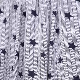 Tissu viscose bleu éclipse à motif étoile et chevron - pretty mercerie - mercerie en ligne