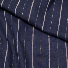 Tissu lin et coton bleu à rayures blanches et dorées X 10 CM