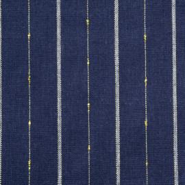 Tissu lin et coton bleu à rayures blanches et dorées - pretty mercerie - mercerie en ligne