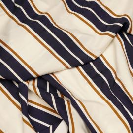 Tissu viscose blanc cassé à motif rayures bleu et ginger X 10 CM
