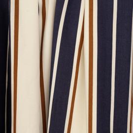 Tissu viscose blanc cassé à motif rayures bleu et ginger - pretty mercerie - mercerie en ligne
