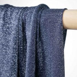 tissu maillot de bain bleu et lurex argent - pretty mercerie - mercerie en ligne