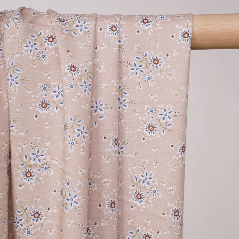 Tissu viscose beige frappé à motif fleuri - pretty mercerie - mercerie en ligne