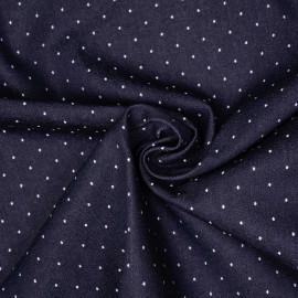 Tissu denim bleu brut à pois tissés blanc - pretty mercerie - mercerie en ligne