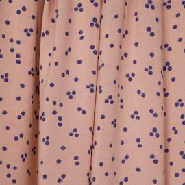 Tissu viscose dusty corail à motif pois bleu - pretty mercerie - mercerie en ligne