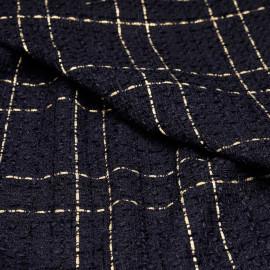 Tissu tweed bleu nuit à motif carreaux dorés x 10 CM
