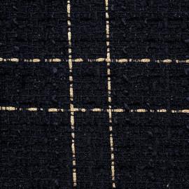 Tissu tweed bleu nuit à motif carreaux dorés - pretty mercerie - mercerie en ligne
