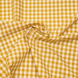 Tissu coton vichy tissé moutarde et blanc x 10cm