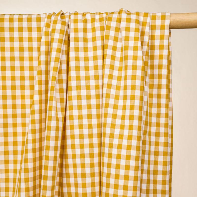 Tissu coton vichy tissé moutarde et blanc - pretty mercerie - mercerie en ligne