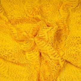 Tissu dentelle curry bandes fleurie et ajourées x 10 CM