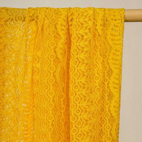 Tissu dentelle curry bandes fleurie et ajourées - pretty mercerie - mercerie en ligne