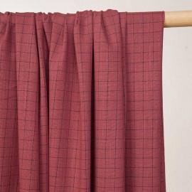 Tissu à carreaux tissé cinabre et noir - pretty mercerie - mercerie en ligne