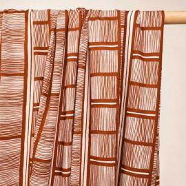 Tissu proviscose à motif ethnique brique - pretty mercerie - mercerie en ligne