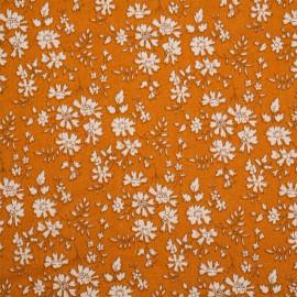 Tissu viscose imprimé caramel motif fleuri blanc - pretty mercerie - mercerie en ligne