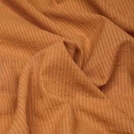 Tissu coton caramel plumetis rayures transparentes x 10cm