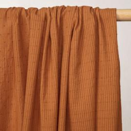 Tissu coton caramel plumetis rayures transparentes - pretty mercerie - mercerie en ligne