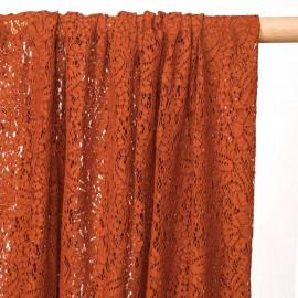 Tissu dentelle brique motif folk paisley - pretty mercerie - mercerie en ligne