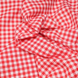 Tissu coton et lin blanc à motif tissé vichy 8mm rouge  X 10 CM