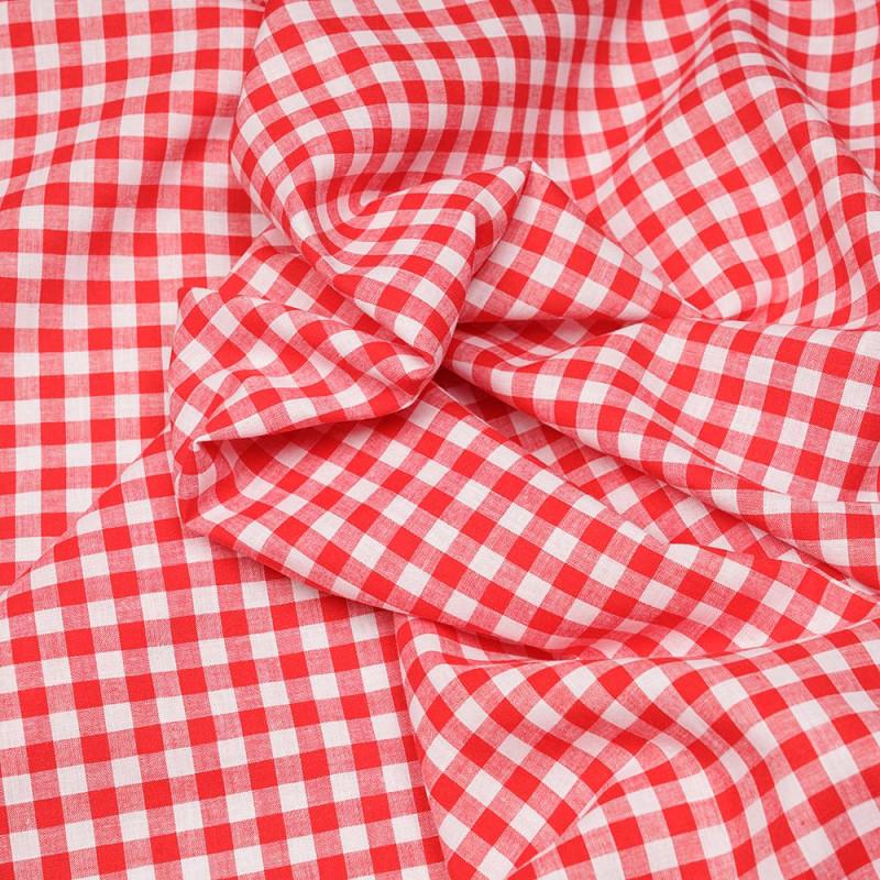Tissu coton et lin blanc à motif tissé vichy rouge  - pretty mercerie - mercerie en ligne