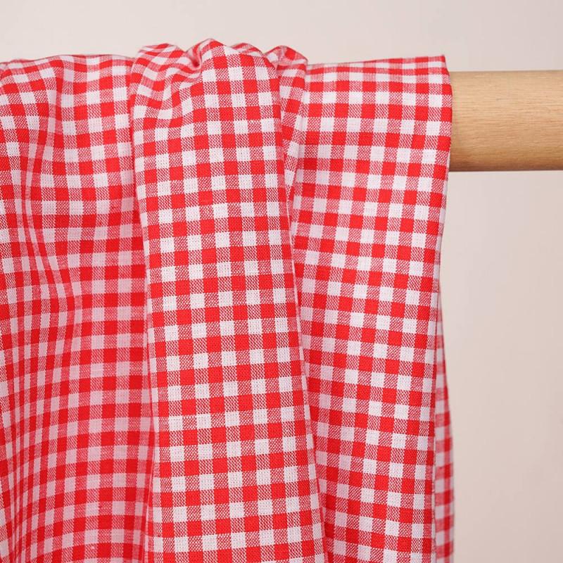 Tissu coton et lin blanc à motif tissé vichy 3mm rouge - pretty mercerie - mercerie en ligne