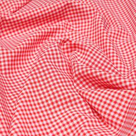 Tissu coton et lin blanc à motif tissé vichy 3mm rouge  X 10 CM