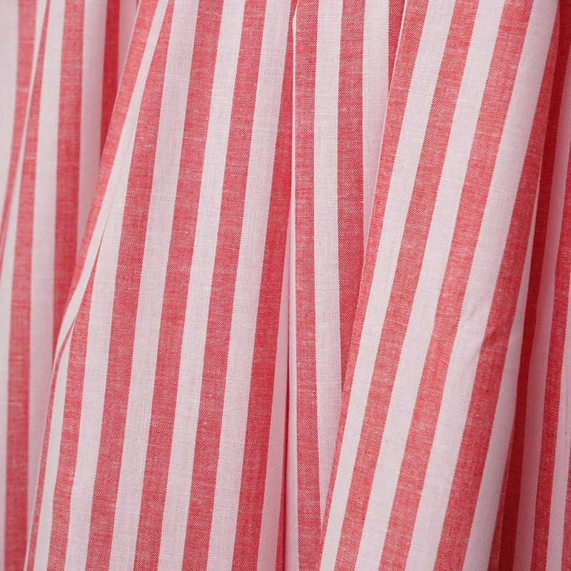 Tissu coton et lin blanc à motif tissées rayures rouges - pretty mercerie - mercerie en ligne