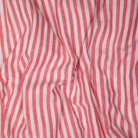 Tissu coton et lin blanc à motif tissées rayures 7 mm rouges X 10 CM