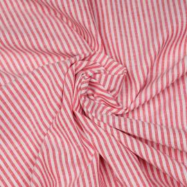 Tissu coton et lin blanc à motif tissées rayures 4mm rouges X 10 CM