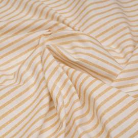 Tissu coton blanc à motif tissées rayures clay  X 10 CM