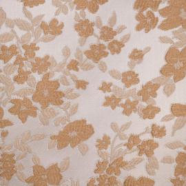 Tissu jacquard blanc motif fleurs beige et nude - pretty mercerie - mercerie en ligne