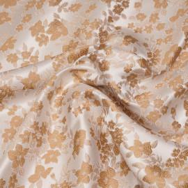 Tissu jacquard blanc motif fleurs beige et nude x 10 CM