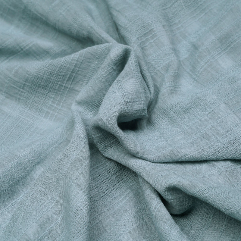 Tissu gaze de coton beu ardoise tissé à motifs rayures bohème - pretty mercerie - mercerie en ligne