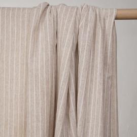 Tissu coton beige à motifs tissés rayures blanches  - pretty mercerie - mercerie en ligne