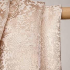 Tissu jacquard à motif abstraits blanc et lurex cuivre - pretty mercerie - mercerie en ligne