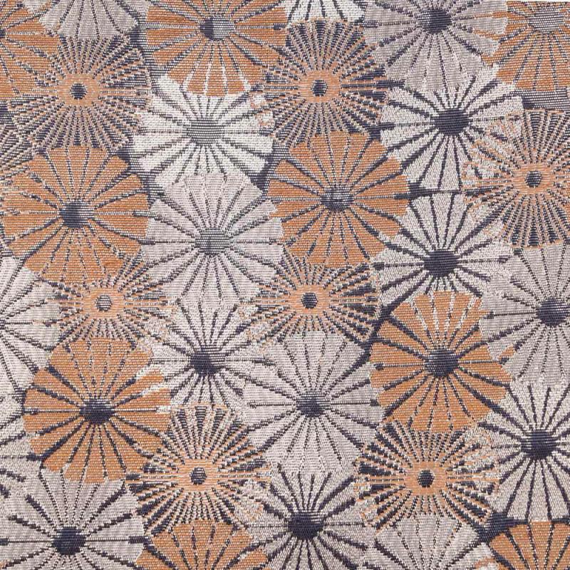 Tissu jacquard à motif fleurs abstraites toast et lurex bleu argenté - pretty mercerie - mercerie en ligne