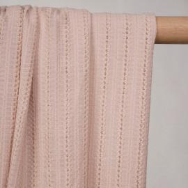 Tissu coton rose à lignes brodées et ajourées - pretty mercerie - mercerie en ligne