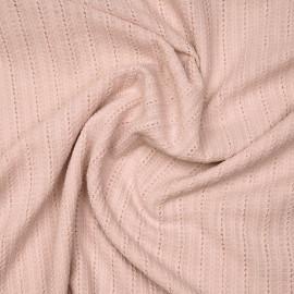 Tissu coton rose à lignes brodées et ajourées X 10 CM