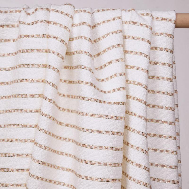 Tissu tweed blanc cassé à motif rayures dorées et roses - pretty mercerie - mercerie en ligne