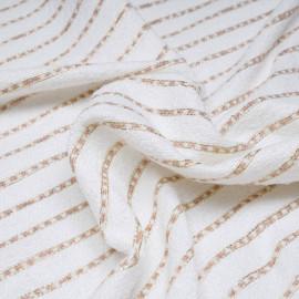 Tissu tweed blanc cassé à motif rayures dorées et roses x 10 CM