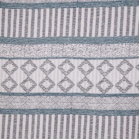 Tissu viscose blanc cassé à motif ethnique bleu celestial et bleu marine - pretty mercerie - mercerie en ligne